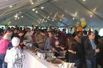Feeding a huge crowd at the Senior Bowl.